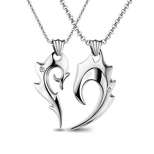 MILOVE-U Couple Necklace Wolf Teeth Necklace for Men -