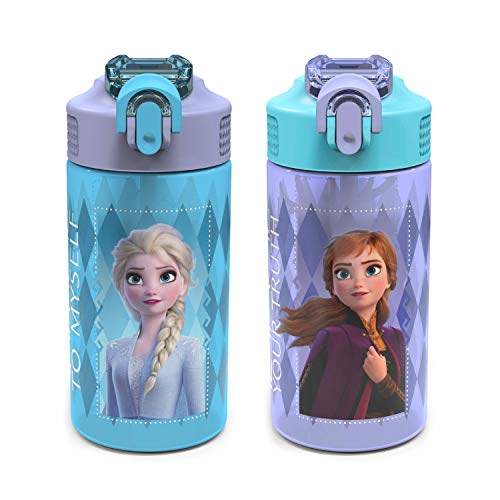 Zak Designs Disney Frozen 2 Kids Water Bottle Set with
