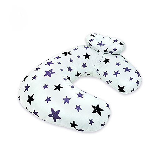 Baby Breastfeeding Nursing Pillow and Positioner,Machine Washable U Shape Nursing and Infant Support Pillow Bonus Head Positioner(White Stars)