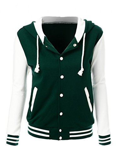 (Stylish Color Contrast Long Sleeves Hoodie Varsity Jacket Green Ivory M)