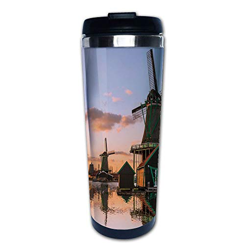 Stainless Steel Insulated Coffee Travel Mug,Village with Canal Waterfront Dutch Architecture,Spill Proof Flip Lid Insulated Coffee cup Keeps Hot or Cold 13.6oz(400 ml) Customizable printing ()