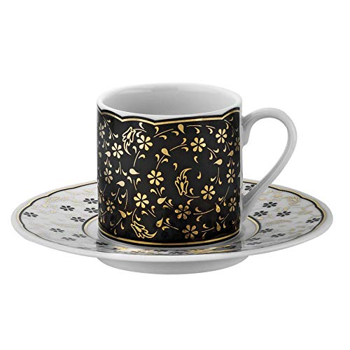 12 Set Cups Coffee Piece (Turkish Coffee Cup & Saucer Set - 12 Piece, 6 Coffee Cup & 6 Saucers - Set for Coffee Espresso, Latte, Coffee - Traditional Design - RU12KT4307741122 White Gold Black)