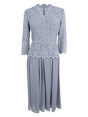 Alex Evenings Women's Plus-Size Faux-wrap Mock Lace Dress with Tea Length Skirt, Silver, -