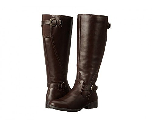 Life Stride Womens Xylans Wide Calf Leather Boots Dark Tan gjGTiuX