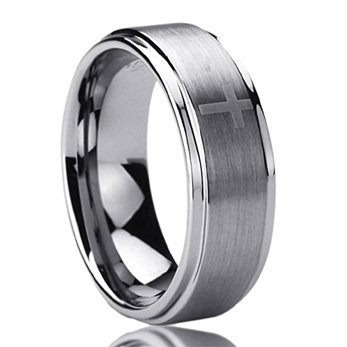 8MM Titanium Comfort Fit Wedding Band Ring Laser Etched Cross Pattern Ring (8 to 14) SZ: 8