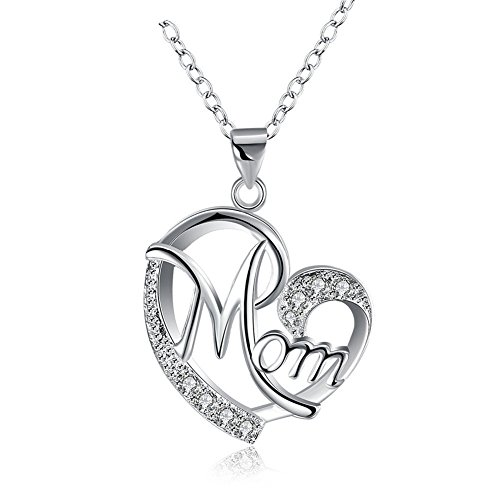 Gifts for Mom Mother Necklace Pendant Sterling Silver for Women Love Heart Mom Birthday Gifts (Birthday Heart Pendant)