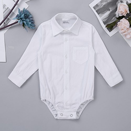 IEFiEL Infant Baby Boys Long Sleeves Gentleman Romper Jumpsuit Formal Dress Shirt Bodysuit White 12 Months