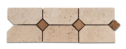Ivory & Noce Travertine Ravenna Tumbled Border / Listello - Sample (Listello Border)