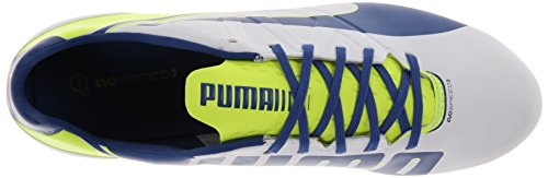 PUMA Women's Evo Speed 3.3 Firm Ground Soccer Shoe,White/Snorkel Blue/Fluorescent Yellow,8 B US by PUMA (Image #8)
