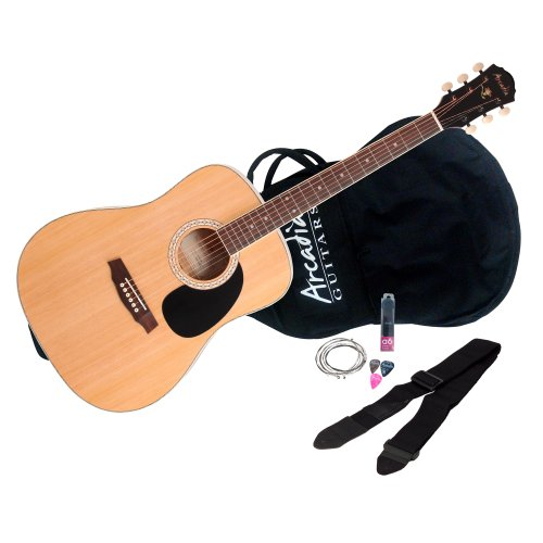 Arcadia DL41NA Full-Size 41″ Dreadnaught Acoustic Guitar Pack, Spruce with Natural Finish