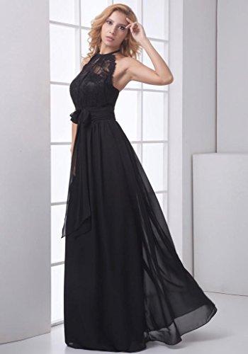 ddf5be699a454 GEORGE BRIDE Elegante Hign collo nero lungo Charming chiffon abito da sera  Taglia 48 nero Amazon.it Sport e tempo libero ...