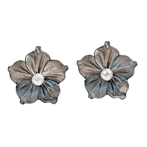 Delicate Grey Mother of Pearl Shell Flower with Cultured Freshwater Pearl Accent Stud Earrings