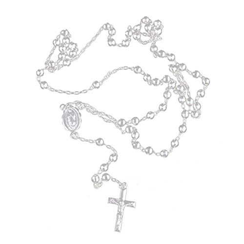 - Beaded Rosary Neckalce D/C 925 Sterling Silver High Polished Shiny Choose Size