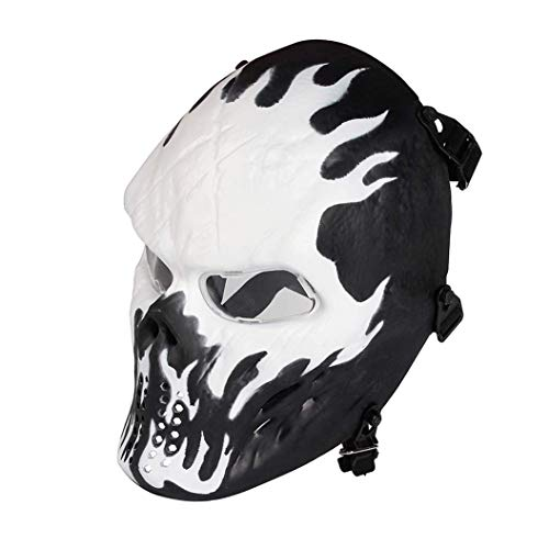 Paintball Mask, Skull Skeleton Full Face Airsoft Mask with Clear Lens Army Fans Supplies M06 Tactical Mask for Halloween Paintball BB Gun CS Game Cosplay and Masquerade Party (Wildfire)