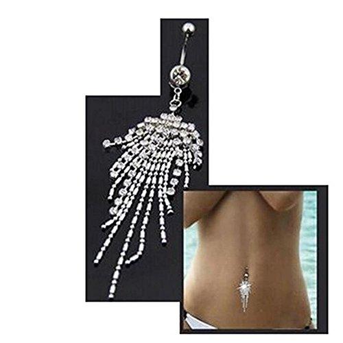 STEVE YIWU Silver Plated Rhinestone Crystal Long Tassel Belly Button Ring