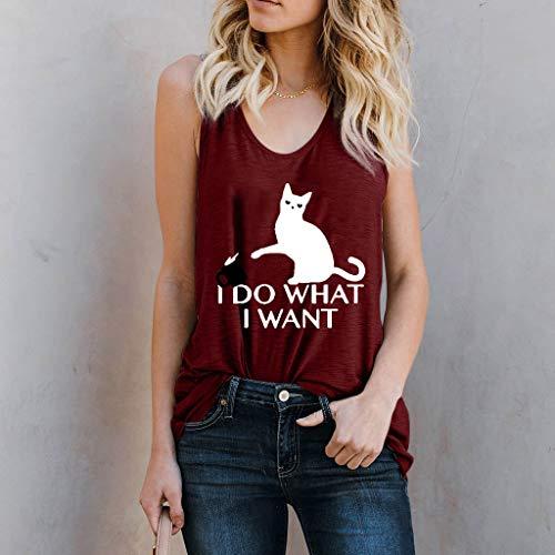 Topkeal Print Sin Blusa Vino Animal Mangas Rojo Camiseta Mujer Para Mujer Con wYrTwgq