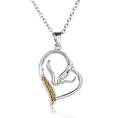 JUESJ Creativity Heart-shaped Double Horse Crystal Pendant Necklace for Mom Affection Gifts (Yellow)