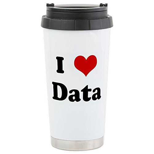 CafePress - I Love Data - Stainless Steel Travel Mug, Insulated 16 oz. Coffee - Hearts Seal Personalized Double