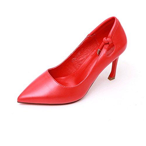 38 Scarpe Da Bassa In dimensioni Donna Svuotate Rosso Sottile Tacco Singole Colore Tacchi Bocca JIANXIN Pelle A Punta E Sexy EqwHvAU