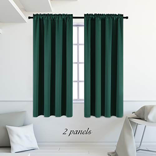 DONREN Hunter Green Blackout Thermal Insulating Window Curtains/Panels/Drapes for Bedroom (42 x 63 inches with Rod Pocket,2 Panels)