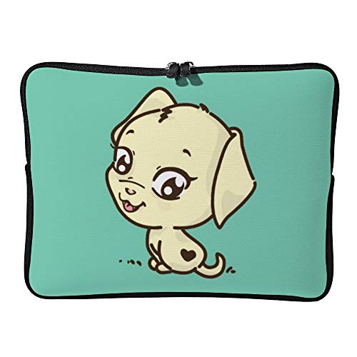 Laptop Sleeve Water Repellent Neoprene Bag Protective Case Cover Compatible with MacBook Pro/Asus/Dell/Hp/Sony/Acer 12 Inch, Cute Puppy Dog Illustration -  Elvoes, Elv-g82qcatg-2