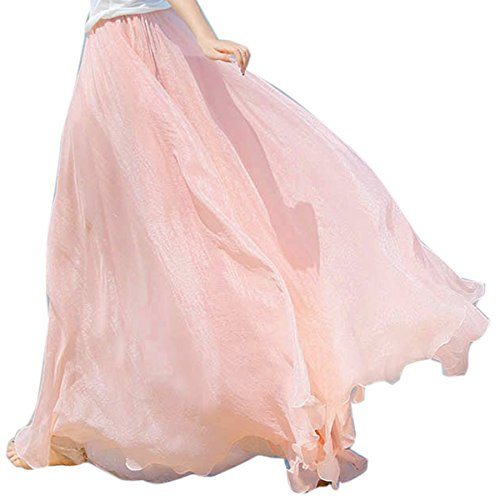 Chiffon Maxi Skirt, Women's Bohemian Casual Pleated Tiered Maxi Long Summer Beach Skirt