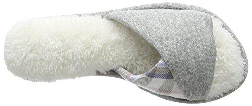 Dearfoams Slide - Pantuflas Mujer Grey (Light Heather Grey)