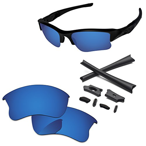 PapaViva Replacement Lenses & Rubber Kits for Oakley Flak Jacket XLJ Deep Water - - Xlj Flak Jacket Oakley Accessories