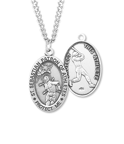 (10 7/18) BERTOF Men's BASEBALL SAINT SEBASTIAN STERLING SILVER Patron Saint of Athletes Sport Medal 24