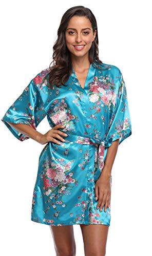Season Dressing Floral Satin Kimono Robes Short Bridesmaid Robe for Parties Wedding Robes, Turquoise Meduim