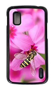 Google Nexus 4 Case,MOKSHOP Awesome pink flowers bee Hard Case Protective Shell Cell Phone Cover For Google Nexus 4 - PC Black