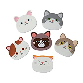 YunKo QUTE Cat Cup Mat Silicone Rubber Coaster for Wine, Glass, Tea- Best Housewarming Beverage, Drink, Beer- Home House Kitchen Decor – Wedding Registry Gift Idea
