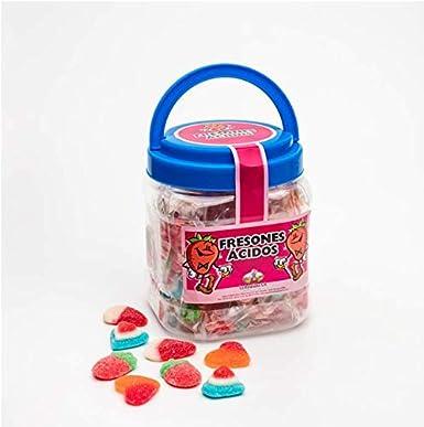 Bote con asa con Caramelos de Goma La Asturiana - Divertido bote relleno de gomitas (corazones, fresas...) envueltas en flow pack, 420 gramos, sin gluten: Amazon.es: Alimentación y bebidas