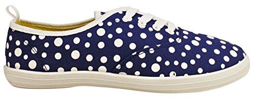 Ta En Promenad I Womens Fashion Duk Spets-up Sneaker - Utskrifter Och Mono Färger Kungsblå Prick