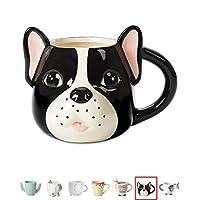 Ceramic Coffee or Tea Mugs: Tri-Coastal Design Pug Dog Coffee Mug with Hand Printed Designs - 18.6 Fluid Ounce Large, Cute Handmade Cup