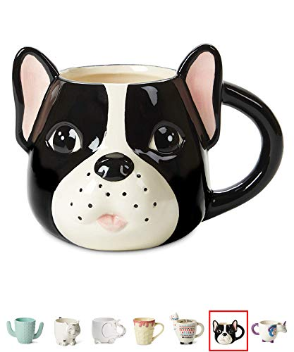 (Ceramic Coffee or Tea Mugs: Tri-Coastal Design Pug Dog Coffee Mug with Hand Printed Designs - 18.6 Fluid Ounce Large, Cute Handmade Cup)
