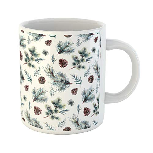 (Tarolo 11 Oz Mug Coffee Mug Ceramic Tea Cup Watercolor Made of Coniferous Pine Fir Spruce Branches Cypress Leaves and Cones Winter Forest Evergreen Plants Large C-handle Family and Office Gift)