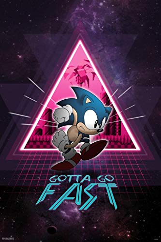 (Pyramid America Laminated Sonic The Hedgehog Gotta Go Fast Neon Space Video Game Gaming Sign Poster 12x18)
