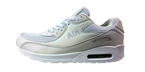 Scarpe da corsa, unisex, stile casual, chiusura con i lacci, scarpe sportive per ragazzi, ideali da usare in palestra e per passeggiare, Fibra tessile, Blue/Black, UK7 / EUR 41 White