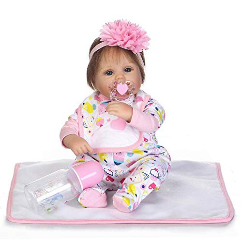 Birdfly 42CM New Arrival Reborn Baby Dolls Floral Head Decor Full Body Girl Doll with Clothes and Nozzle for Toddlers Playmate