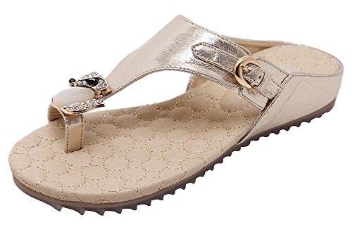 Agowoo Kvinna Platt Dubbade Rem Walking Sandles Strand Sandaler Guld