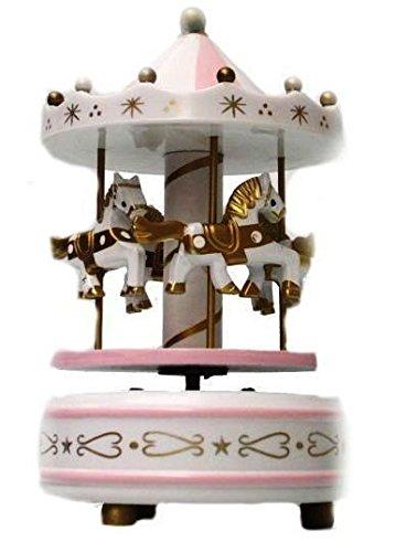 Carillon Ninna Nanna.Ict Giostrina Giostra Girevole Cavalli Con Carillon Ninna Nanna Bomboniere Regalo Battesimo Festa 0803 H Bianco Rosa