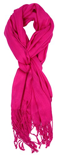 Love Lakeside-Women's Must Have Solid Color Crinkle Scarf (One, Hot (Hot Pink Scarf)