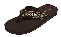 Soda Women's Benton Flip-Flop Thong Flat Sandal, brown multi color eva, 6 M US