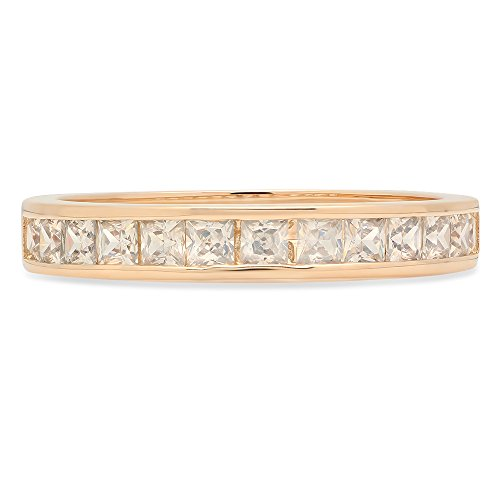 Cut Princess Classic Solitaire - 2.20 ct Brilliant Princess Cut Stacking Channel Setting Statement Classic Designer Solitaire Anniversary Engagement Wedding Bridal Promise Bands in Solid 14K Yellow Gold