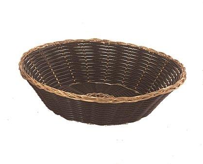Update International (BBV-8R) 8'' Round Black Woven Bread Basket, Case of 12