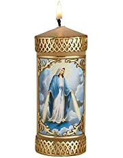 Hand Crafted Our Lady of Grace Catholic Prayer Candle, Unscented Decorative Candles for Devotional, Religious Gifts for Christian Families, 4.75 Inches
