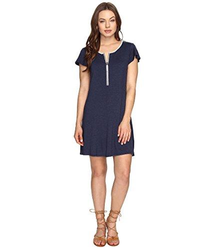 - kensie Women's Zip-Detail T-Shirt Dress Navy Heather XXL