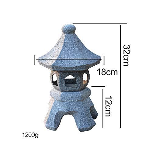 zenggp Pagoda Japanese Garden Lantern Solid Stone Carving Hand Carved Garden Decoration Statue,C+32cm