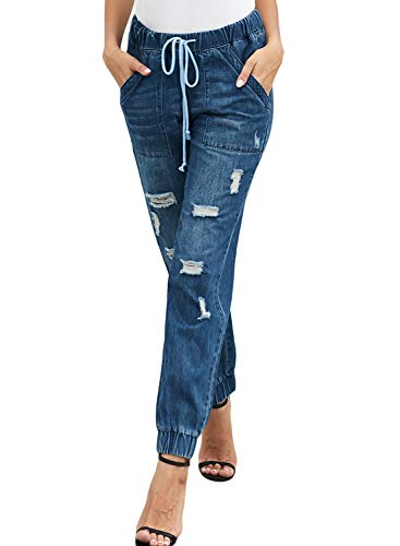 Aleumdr Women Pull-on Jeans Leggings Pants Ankle Length Destroyed Denim Distress Drawstring Pocketed Joggers Size S Blue